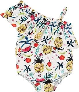 Funiup Kids One Piece Swimwear with Watermelon Swimwear Swimsuit Baby Girl Leopard Pattern Bathing Suits