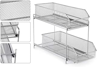 $25 » NEX Office Desk Organizer, 2 Tier Mesh Sliding Desktop Supplies Accessories Holder with Drawer Organizer for Office Home, Silver
