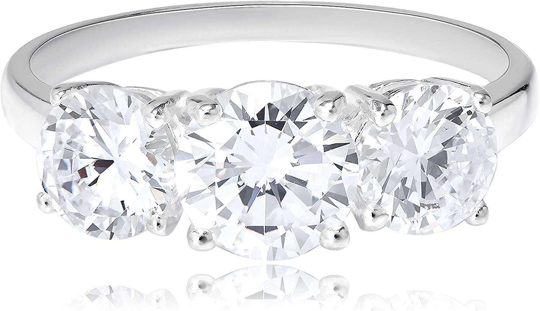 Sterling Silver Cubic Zirconia Discount is also underway Superlatite Three Engagement Ri Stone Promise