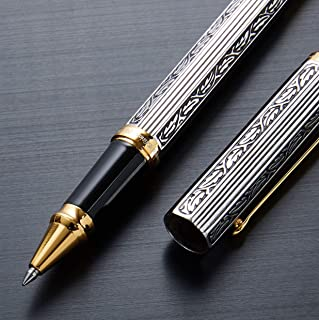 Xezo Legionnaire 18-Karat Gold, Platinum Plated Fine Rollerball Pen in Art Nouveau Style, Diamond-Cut and Finely Hand-Etched (Legionnaire 500 R-1)