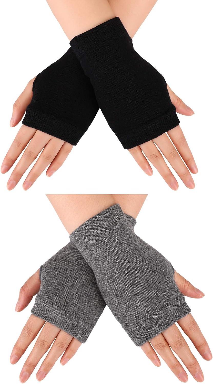 Blulu Fingerless Warm Gloves with Thumb Hole Cozy Half Fingerless Driving Gloves Knit Mittens for Men, Women