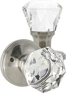 Interior Crystal Door Knob Privacy in Satin Nickel Finish,Crystal Privacy Doorknobs for Bed and Bathroom,Diamond Shape Door Handle with Lock,Classic Rosette,Diamond Crystal Door Knobs with Lock