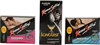 Kamasutra Long Last 12s Condom, Ribbed 12s Condom And Dotted Desire 12s Condom (Combo Of 3)