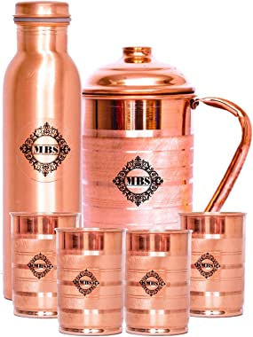 MBS Copper Glass And Jug - 6 Pieces, Brown, 300 ml, 1500 ml