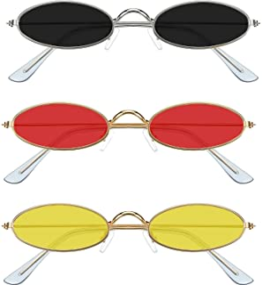 3 Pieces Vintage Oval Sunglasses Metal Frame Oval Sunglasses Slender Candy Color Sunglasses