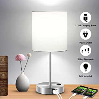 Touch Control Table Lamp, 3-Way Dimmable Lamp with 2 Fast Charging USB Ports & Power Outlet, Bedside Lamp, Nightstand Lamp, USB Lamp for Bedroom, Living Room, Office, Daylight White Bulb Included