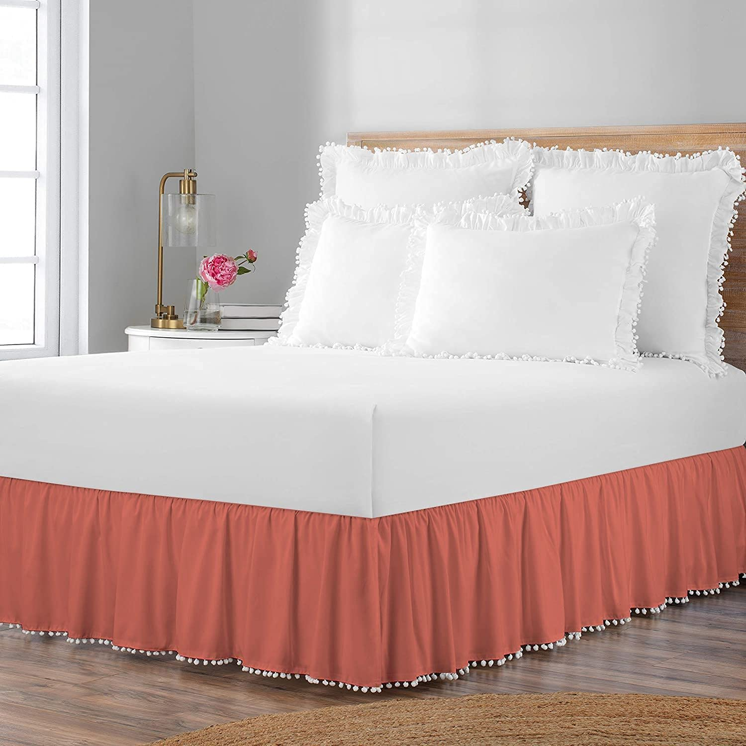 International Sheets Special Campaign Pom Ruffle BedSkirt specialty shop Egyptian 100% Cotto