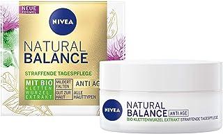 NIVEA Natural Balance - Crema de día reafirmante (50 ml) crema hidratante con extracto de raíz de velcro orgánico antied...