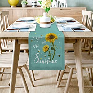 Linen Burlap Table Runner Dresser Scarves Rustic Sunflower Bees You are My Sunshine Emerald Home Dining Table Decor Tea Table Cover Dinner Holiday Party Table Home Decor