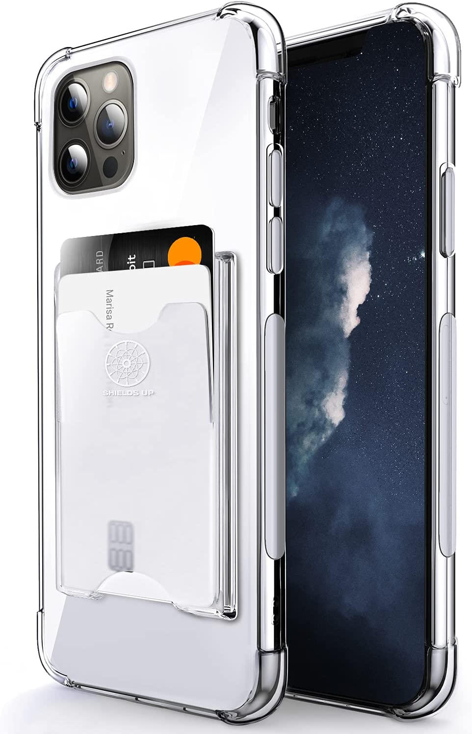 Shields Up Designed for iPhone 12 Case, iPhone 12 Pro Case, Minimalist Wallet Case with Card Holder, Slim Protective Soft TPU Shockproof Cover for Apple iPhone 12/12 Pro (6.1 inch) - Clear
