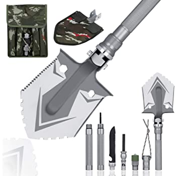 WF WU FANG Camping Shovels Military Folding Shovel Outdoor Survival Shovel Multitool High Carbon Steel Tactical Shovel with Pocket for Camping, Hiking, Backpacking, Emergency, Garden etc