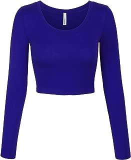 blue crop top long sleeve