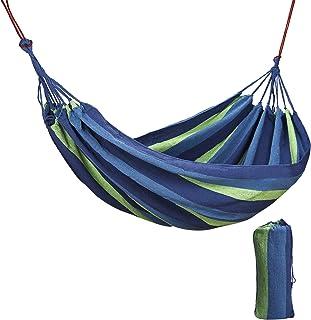 RZKJ-SHOP Hamaca de Algodón para Jardín al Aire Libre Cama 2 Persona 240 x 150 cm Portátil de Lona con Cuerdas para Acampar Capacidad de 200 Kg Peso Ligera con Bolsa para Patio Trasero Playa
