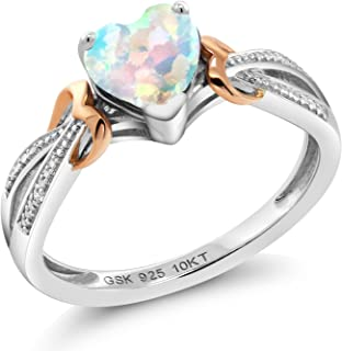 Gem Stone King 925 Silver and 10K Rose Gold Simulated Opal and Diamond Accent Women's Heart Ring (0.76 Cttw Heart Shape 6MM, Available in size 5, 6, 7, 8, 9)