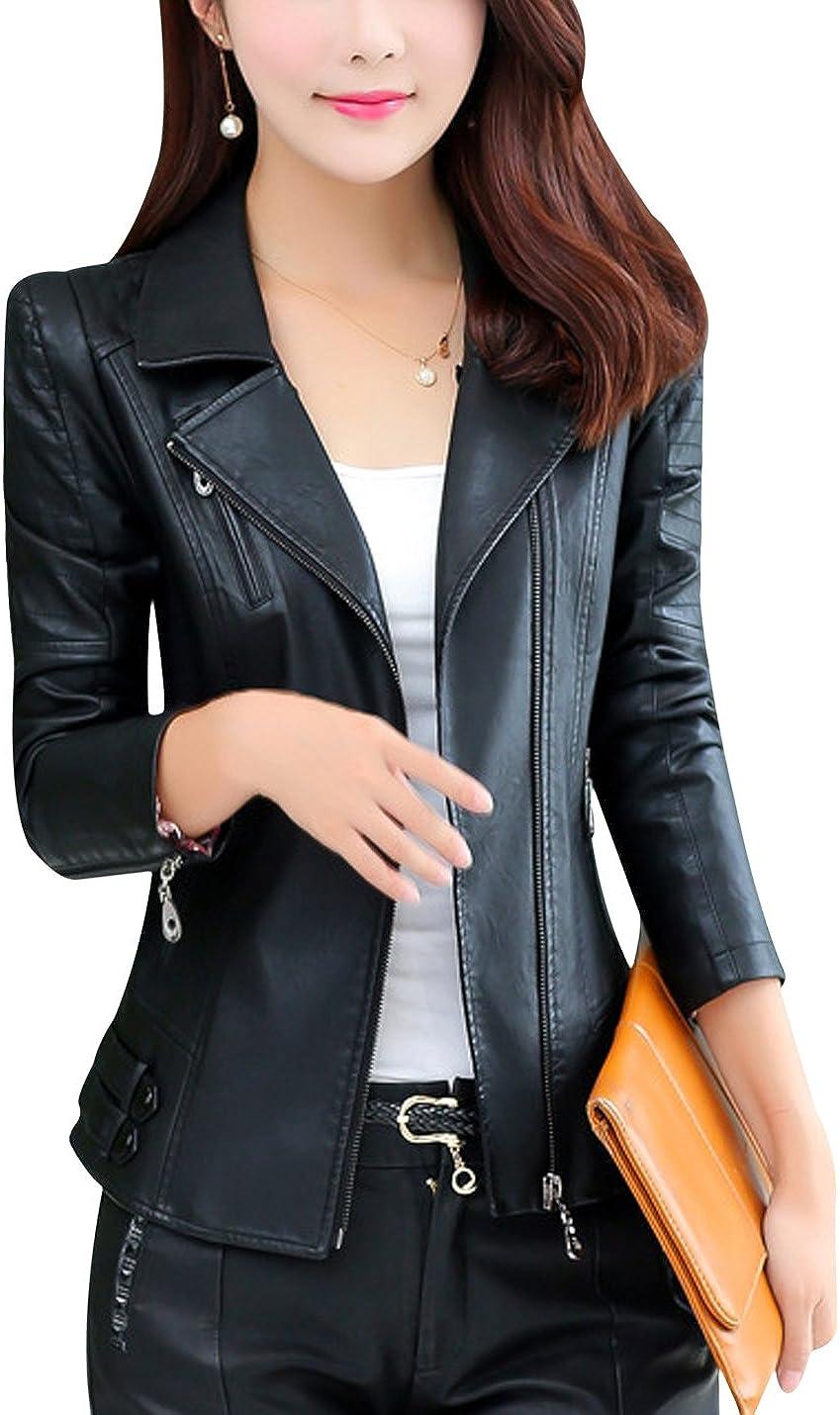Uaneo Women's Notch Lapel Zip Up PU Faux Leather Moto Biker Jacket Outerwear (Black, Medium)