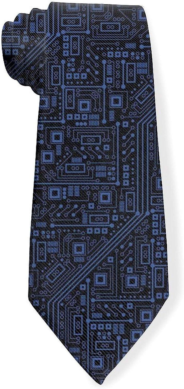 Circuit Board Digital Print Mens Classic Color Slim Tie, Men's Neckties, Fashion Boys Cravats