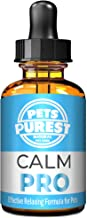 Pets Purest 100% Natural Calm PRO Calming Aid Supplement for Dogs Cats Horses Rabbits Birds Pets - Aids Anxiety & Stress When Home Alone, Aggression, Loud Noises, Fireworks & Kennels (50ml)
