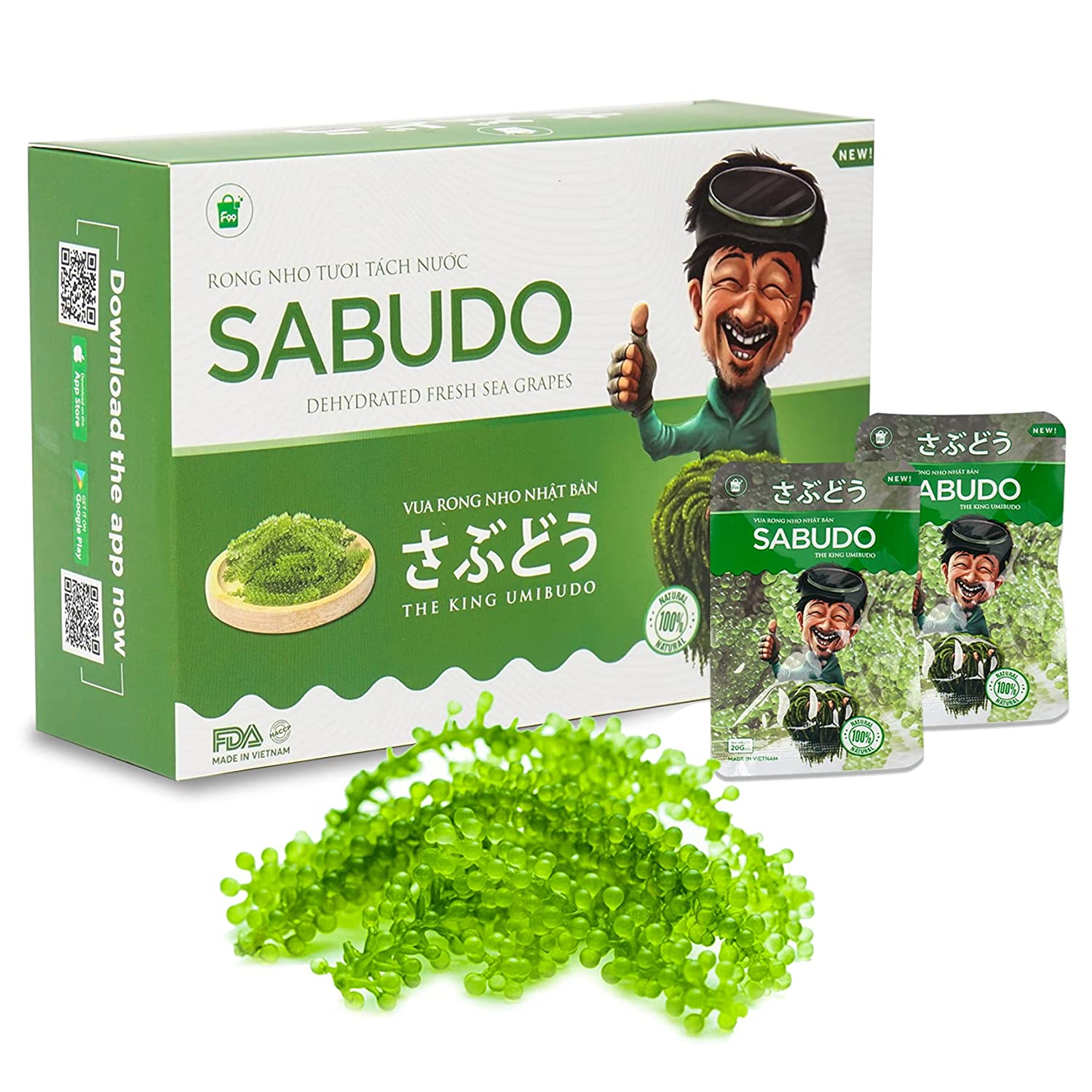 Sabudo Sea Grapes, King Umibudo, Dehydrated Lato Seaweed, Green Caviar, Superfood - The Pearl Of The See (0.7 oz x 4 packs)(Pack of 4)