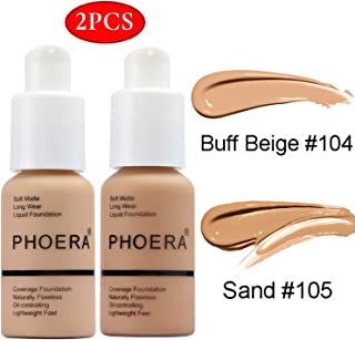 2 Pcs PHOERA Foundation,30ml Natural Moisturizing Highlighting Matte Oil Control Concealer Facial Blemish Concealer Color Changing Phoera Foundation for Women Girls
