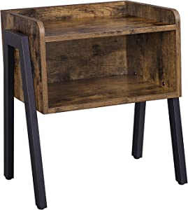 INDIAN DECOR 4555 Nightstand, End Table, Stackable Side Table, Coffee Table with Open Front Storage Compartment, Retro Rustic Chic Wood Look, Accent Furniture with Metal Legs, Vintage