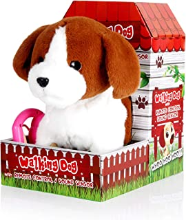 Woodyotime Voice Sensor Interactive Walking and Yapping Puppy Dog Electronic Animal Toys With Remote Control Leash