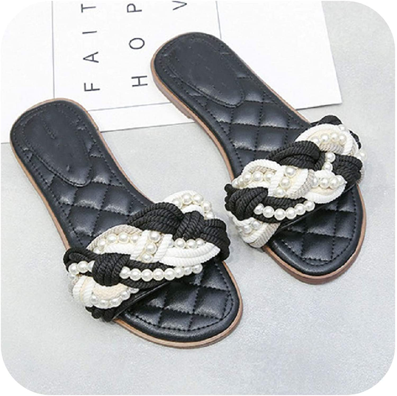 FAT BABY Natural Genuine Leather Bead Sandals Women Flat Heels Slippers Lady Spring Summer Beach Flip Flops Sandals