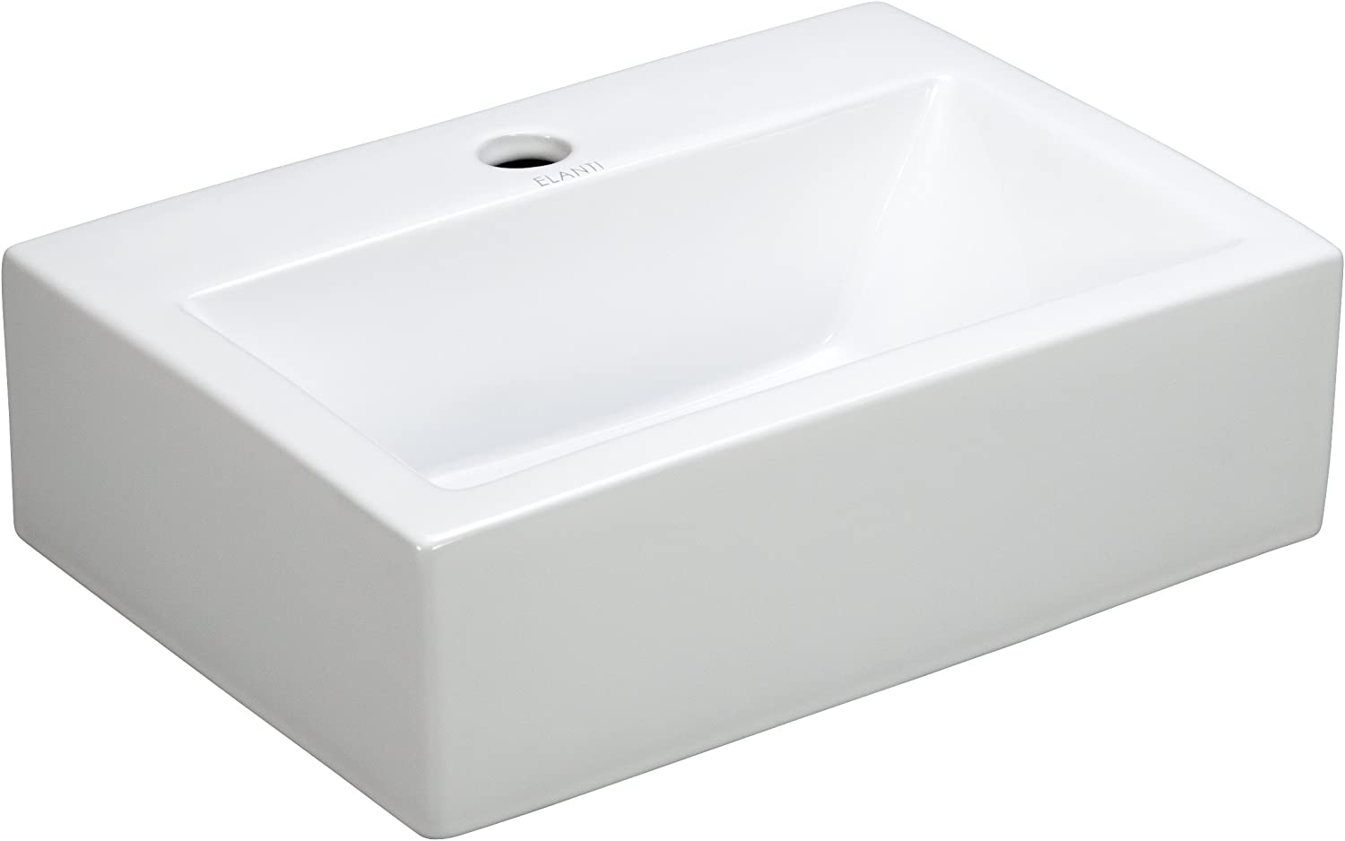 Elite Sinks Ec9859 Porcelain Wall-Mounted Rectangle Sink, White