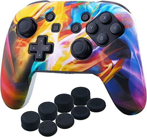 YoRHa Studded Silicone Transfer Print Cover Skin Case ONLY for Nitendo Official Switch Pro Controller x 1(Colourful S...
