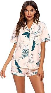 Conjunto De Pijamas para Mujer Ropa De Dormir con Botones Suaves Top Y Pantalones Cortos De 2 Piezas Ropa De Dormir para M...