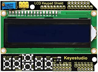 KEYESTUDIO LCD Shield Module Display 16x2 Display Module Blue Keypad Shield for Arduino R3, Mega 2560, Nano