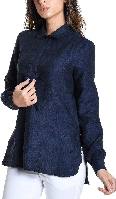 FAY Women's NCWA138A03LQTCU807 blueee Linen Shirt