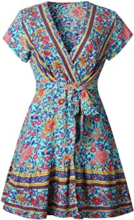 Kapmore Beach Dress Bohemia Style Dress Summer Travel Dress Vintage Pattern V-Neck Dress