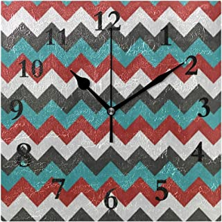 FunnyCustom Colorful Chevron Arrow Zig Zag Square Wall Clock 7.8 Inch Hanging Clock for Living Room/Kitchen/Bedroom