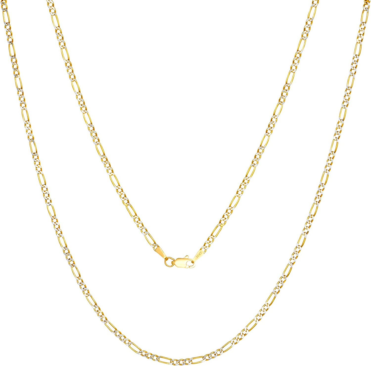 Nuragold 10k Yellow Gold 2.5mm Figaro Chain Link Diamond Cut Pave Two Tone Pendant Necklace, Mens Womens Lobster Lock 16