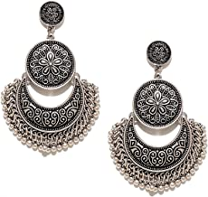 Tiaraz Tribal Collection Oxidized Silver Moonshape Chandbali Earrings for Women