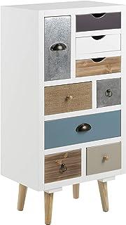 AC Design Furniture Cómoda Suwen Cajones Multicolores Patas de Pino Capa Transparente 9 Piezas Blanco 48 x 32 x 98 cm