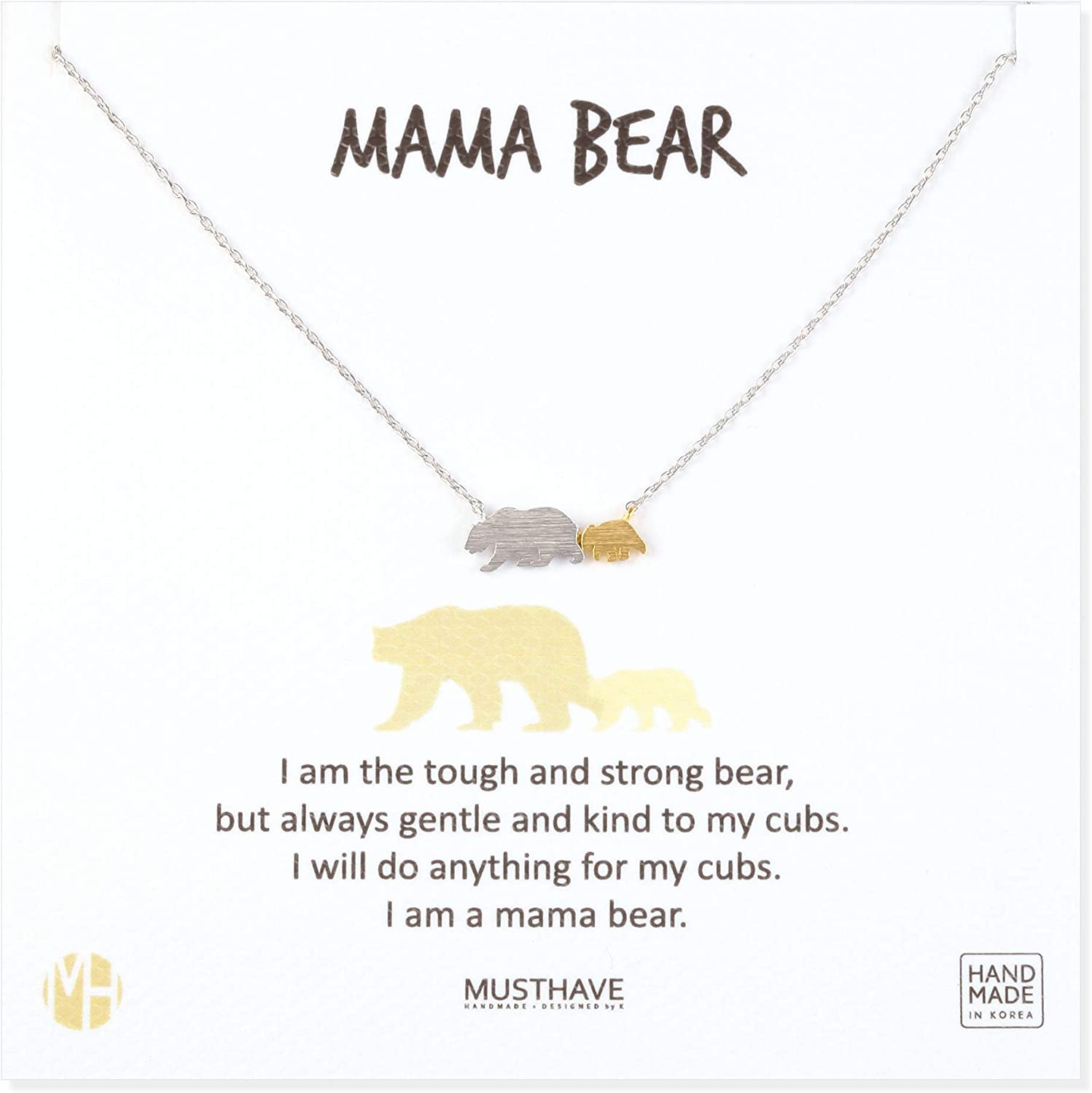 MUSTHAVE Mama Bear 18K Gold Plated Necklace with Message Card, Two Tone Yellow and White Color, Anchor Chain, Best Gift Necklace, Size 16 inch + 2 inch Extender, Mama Bear Pendant, Gift Card