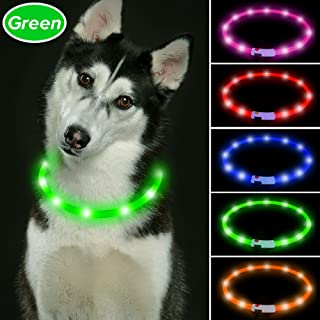 Vizbrite Led Dog Collar, USB Rechargeable Flashing Pet Safety Collar, Cut to Revise Length Dog Collar for Small Medium Large Dogs