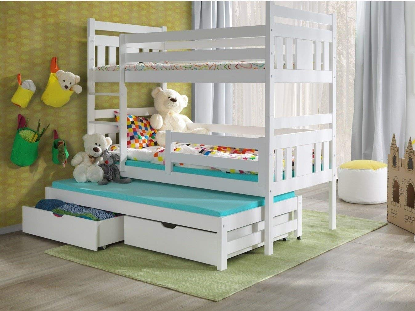 Craftatoz White Solid Wooden Bunk Bed Children And Adults Triple Bunk Beds With Mattress And Storage Drawers Buy Online In Grenada At Grenada Desertcart Com Productid 207188693