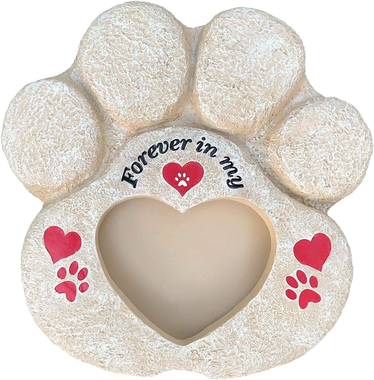 Pet Memorial Stones Pet Memorial Picture Frame  Heart Paw Pet Memorial Stones for Dogs, Cats, Loss of Pet   Waterproof Durable with Large Pet Picture Frame