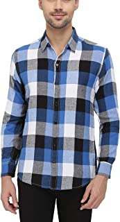 Nick&Jess Mens Blue & White Plaid Flannel Slim Fit Shirt