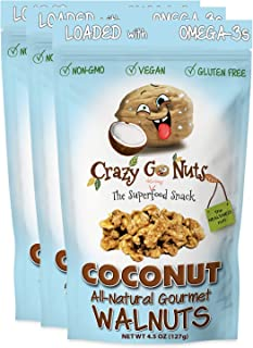 Crazy Go Nuts Walnuts - Coconut, 4.5 oz (3-Pack) - Healthy Snacks, Vegan, Gluten Free, Superfood - Natural, Non-GMO, ALA, ...