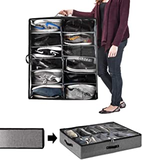 TVOOD Under Bed Shoe Storage Organizer, Customizable Cells up to 12 Pairs with Adjustable Dividers - Sturdy Underbed Shoe Storage Container Box with Clear Cover Zippered Closure for Underbed or Closet