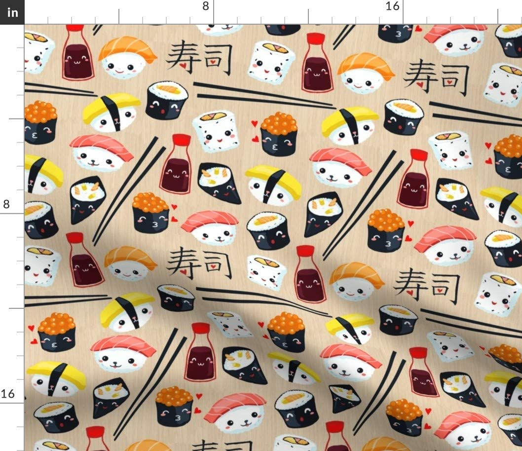 Spoonflower Our shop OFFers the best service Fabric - Kawaii Sushi Some reservation on Food Printed Japan Japanese