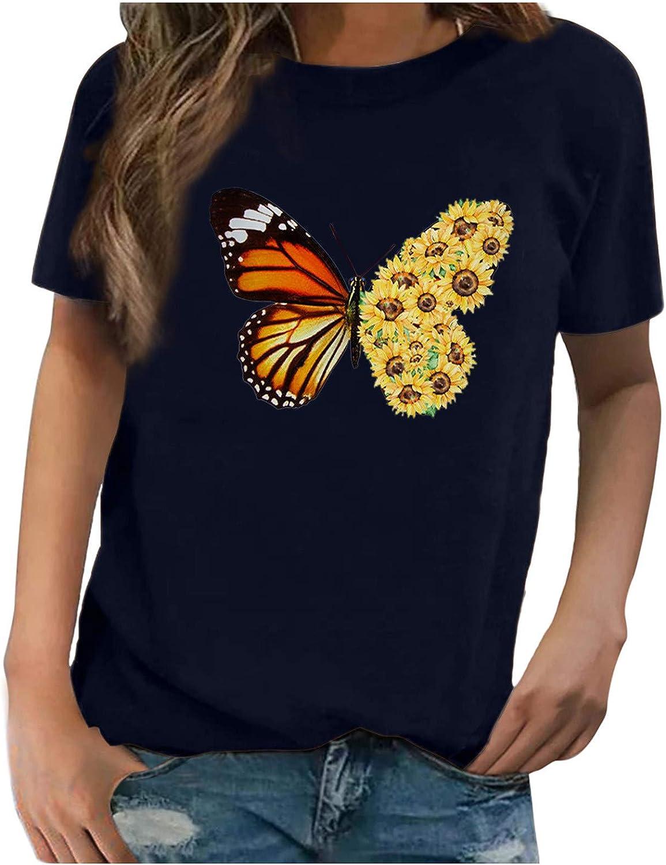 Women's Teen Girls Short Sleeve Graphic Tshirt Cute Leopard Sunflower Colorful Butterflies Pineapple Cat Print Tops