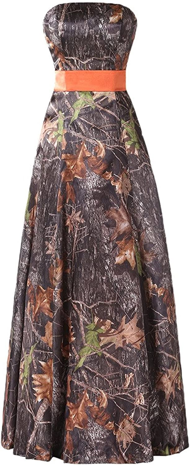 DianSheng Long Strapless Prom Party Dress CAMO Evening Party Bridsmaid Gown CK56