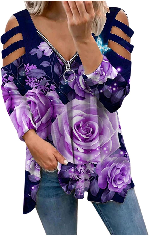 Women's Off Shoulder Tops, One Shoulder Shirts, Sexy Slim Fit Tees 3/4 Sleeve Crop Tops Scoop Neck Shirts