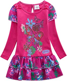 JUXINSU Kids Cotton Girls Flower Butterfly Long Sleeve Dresses Casual Clothes for 1-8 Years