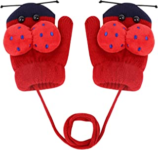 IPENNY Kids Toddlers Winter Warm Knitted Full Finger Gloves with String Cute Cartoon Plush Fleece Lined Mittens for Baby Boys Girls Aged 0-3Y