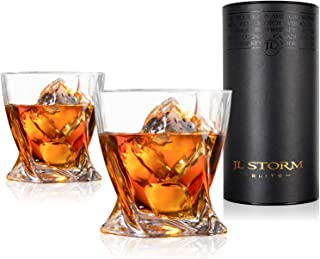 JL Storm Twist Whiskey Glasses - Large Premium Lead Free Crystal Tumbler Set of 2 - Modern Style Rocks Glass For Drinking Bourbon, Scotch Whisky, Cognac, Cocktails - Luxury Liquor Style Gift Tube